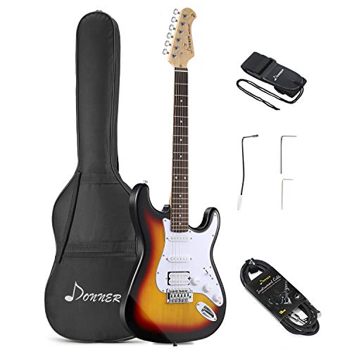 Donner 6 String Full-Size 39 Inch Electric Guitar Beginner Kit Sunburst with Package, Strap, Cable, Right (DST-1S)