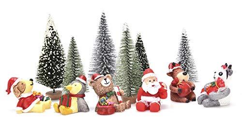 (JUNKE 12 PCS Miniature Christmas Decorations Miniatures Mini Resin Desktop Christmas Ornaments Christmas Trees, Santa, Panda, Penguin, Reindeer, Dog, Bear, Xmas Gifts for Girls Boys Kids (12 Pieces))