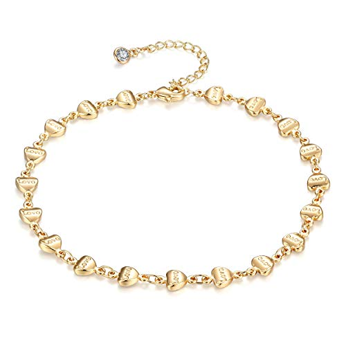 Dainty Ankle Bracelet, 14K Gold Plated Tiny Heart Bead Anklet Dainty Love Letter Foot Chain Cute Lucky Foot Jewelry Boho Anklets for Women (Heart)