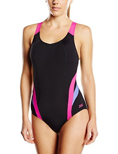 Costumes Brisbane (Zoggs Women's Brisbane X Back Swimming Costume - Black/Pink/Purple, 40-Inch/Size 16 by Zoggs)