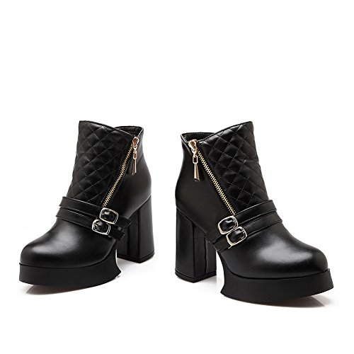 Leather amp;N Chunky Buckle Girls Black Boots Imitated Heels A Platform 0dHTqTw