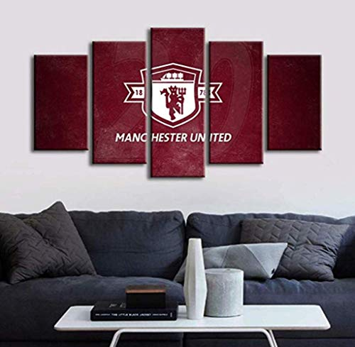 ZZXINK Manchester United Football Soccer Team logo 5p Oil Painting HD Print On Canvas Modern Decoration Wall Art