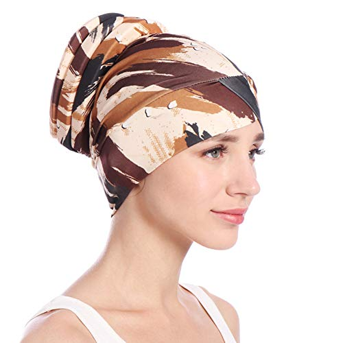 eroute66 Colorful Women Islamic Muslim Hijab Turban Hat Headwrap Scarf Cover Chemo Cap - Khaki