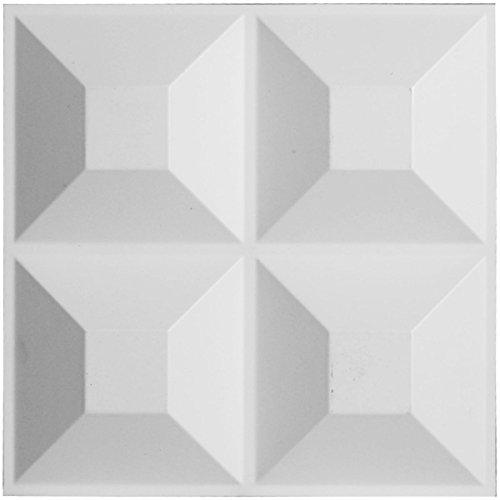 "Ekena Millwork WP12X12SWWH W x 11 7/8"" H Swindon EnduraWall Decorative 3D Wall Panel, White"