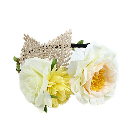 Ahugehome Women Cat Ears Rose Flower Hair Hoop (AB Lace cat Ear Middle Yellow)