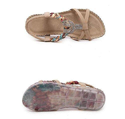 Sandalias para talón verano del diamante del planos abiertas pie apricot del las mujeres Slingback del zapatos estudiante dedo del Z6xrZwqF