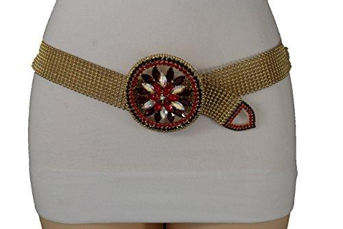 TFJ Women Fashion Belt Hip Waist Gold Dressy Metal Fancy Red Flower Buckle S M