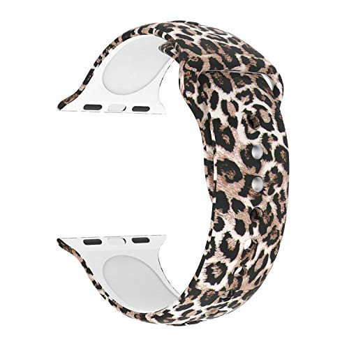 Usitek Sport Band Compatible with iWatch 44mm/42mm 40mm/38mm, Soft Silicone Sport Strap Replacement Floral Printed Bands Compatible for iWatch Series 4/3/2/1 S/M M/L for Women/Men