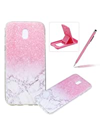 Clear Case for Samsung Galaxy J3 2018,Ultra Thin Transparent TPU Cover for Samsung Galaxy J3 2018,Herzzer Stylish Pretty [Marble Printed] Slim Fit Soft Silicone Bumper Flexible Scratch Resist Rubber Case for Samsung Galaxy J3 2018