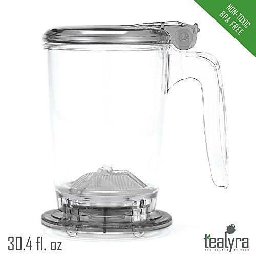 rapidTEA 30oz Loose Tea Maker - Tea Infuser Teapot - #1 Best Tea Maker Makes a Perfect Cup of Tea - Bottom Dispensing Teapot - Dripping Free Guarantee (30oz / 900ml)