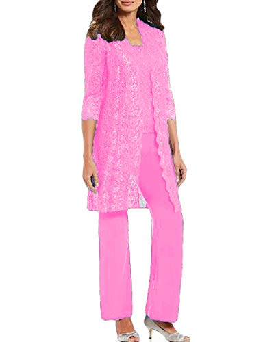 WZW Chic Mother of The Bride Pant Suits 3 Pieces Long Sleeve Chiffon Groom Mother Dress with Jacket Wedding Guest Gown Hot Pink