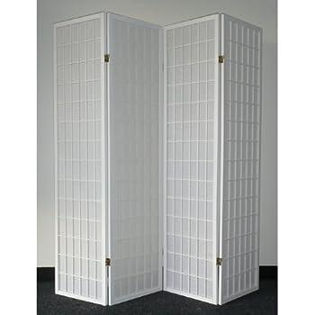 Legacy Decor 4 Panel White Wood Shoji Screen Room Divider