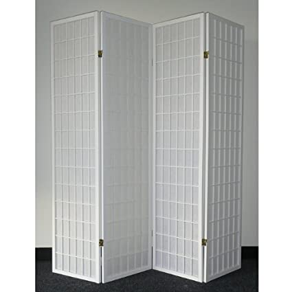 Legacy Decor 4 Panel White Wood Shoji Screen / Room Divider