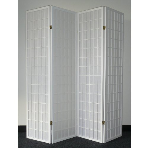 Legacy Decor 4-panel White Wood Shoji Screen/Room Divider by Legacy Decor