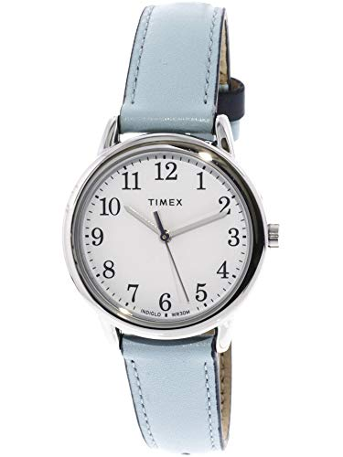 (Timex Women's Easy Reader TW2R62900 Silver Leather Analog Quartz Fashion Watch)