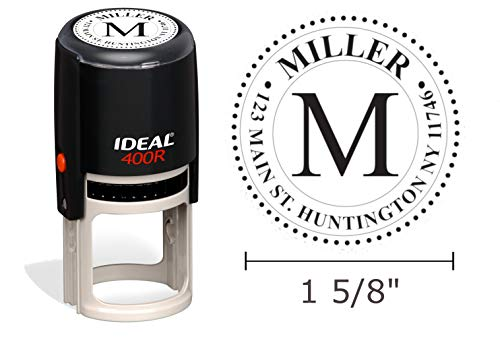 Self Inking Monogram Address Stamp, (Style 106) Ideal 400R, Round 1-5/8