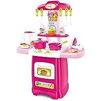 Juegos de Playset de cocina Juego de roles de cocinero Juguete de cocina de alimentos Electrodomésticos con fregadero Grifo Utensilios de mesa Cuchillo 30 Accesorios para Niñas, Grande, Rosa