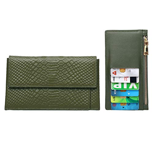 - Women's Wallet, Schumarson Genuine Leather Crocodile Pattern Wallet Purse for Ladies with Removable Card Case