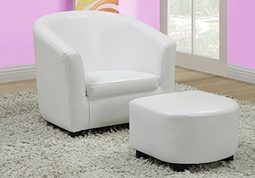 Monarch Specialties Leather-Look Juvenile Chair Ottoman, White, 2 Piece Set