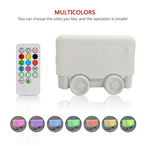 Night Light for Kids,YHTechnology Soft Silicone Bus Baby Nursery Lamp with Sensitive Tap and Remote Control, LED Besides Lamp with Multicolor Best Gift for Children's ()