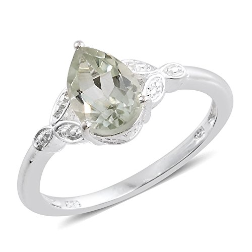 Green Amethyst Solitaire Ring (Green Amethyst Sterling Silver Ring 1.45 cttw. Size 7)