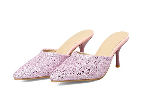 YE Women's Pointed Toe High Heel with Glitter Slingback Dress Court Shoes Pink F7uQoKv
