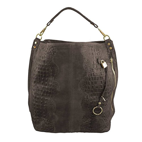 COSIMA LEONE - Leather Bag, Model TRAVIATA, Chocolat Brown color