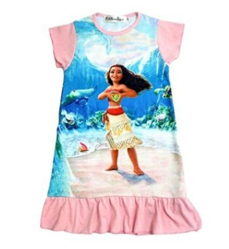 FSBBUT Moana Comfy Loose Fit Pajamas Dress Girls 3-10Y Princess Dress