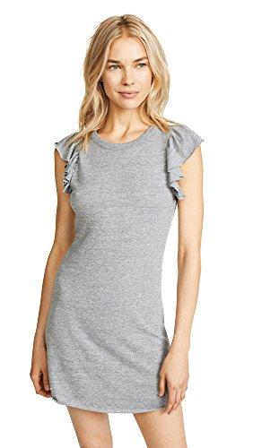 Shoulder Flutter Sleeve Dress - CHASER Women's Flutter Sleeve Dress, Streaky Grey, Small
