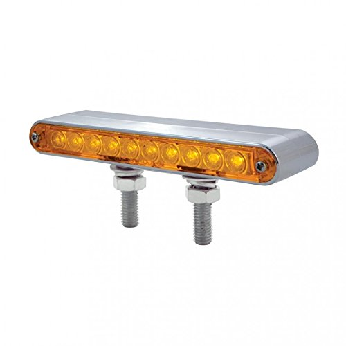 1 Pack United Pacific 37631 10 LED 6 1//2 Double Face Light Bar Amber /& Red LED//Clear Lens