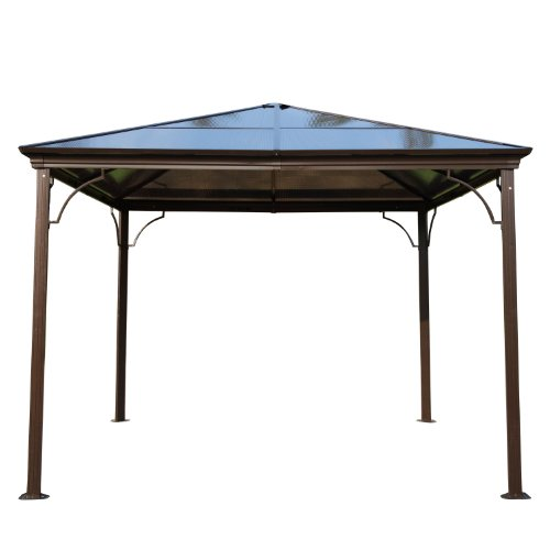outsunny 10 39 x 10 39 aluminum hardtop gazebo w curtains and. Black Bedroom Furniture Sets. Home Design Ideas