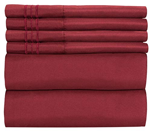 Queen Size Sheet Set - 6 Piece Set - Hotel Luxury Bed Sheets - Extra Soft - Deep Pockets - Easy Fit - Breathable & Cooling Sheets - Wrinkle Free - Comfy - Burgundy Bed Sheets - Queens Sheets - 6 PC (Deep Red Bedding)
