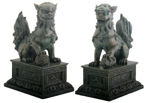 (Chinese Guardian Lions Foo Dogs Bronzed Finish Statue Bookends)