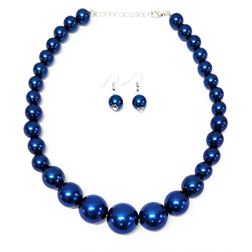 MeliMe Faux Big White Red Pearl Choker Necklaces Flapper Beads Wedding Jewelry for Women Mother (Blue)