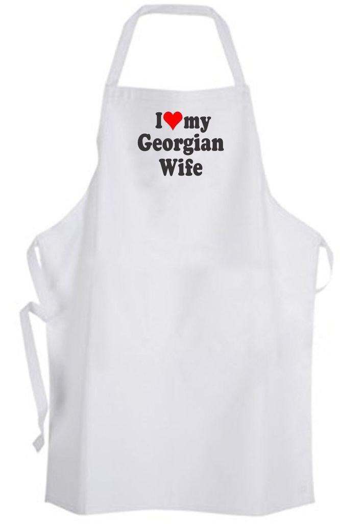 I Love Georgian Wife – Adult Size Apron – Georgia Wedding Marriage Husband