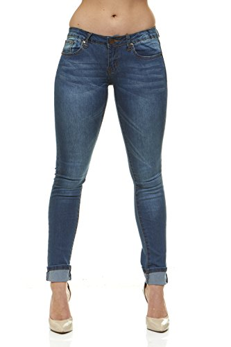 V.I.P.JEANS Classic Skinny Jeans for Women Slim Fit Stretch Stone Washed Jeans Junior Size 3/Electric Medium Blue Denim (Denim Girls Washed)