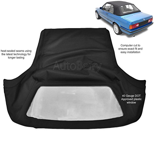 BMW 3 Series E30 Convertible Soft top 1987-1993 325i, 320i, 318i M3 Black Twill Vinyl