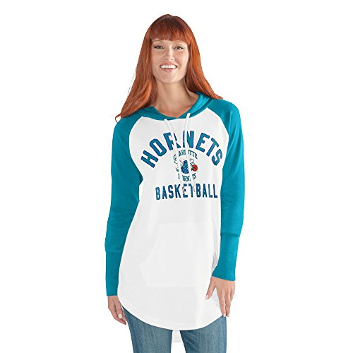 NBA Charlotte Hornets Adult Women All Division Tunic Hoody, XX-Large, White/Teal - Charlotte Tunic