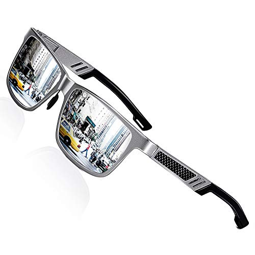 ROCKNIGHT Polarized UV400 Sunglasses for Men Big Head Sunglasses 61mm Silver Mirror Sunglasses Stylish Sunglasses for Men Outdoor Sunglasses ()