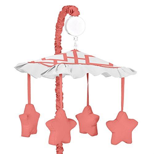 Modern White and Coral Diamond Geometric Girls Musical Baby Crib Mobile