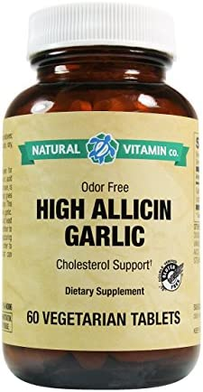 Natural Vitamin Co. – High Allicin Garlic, Garlic 500mg, Minimum 5mg Allicin, 60 Tablets, 2 Month Supply, Odor Free, Gluten Free, Vegetarian, Vegan