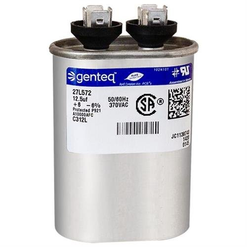 CPT-0255-12.5 uF MFD x 370 VAC Genteq Replacement Capacitor Oval # C312L 27L572 American Standard CPT00255