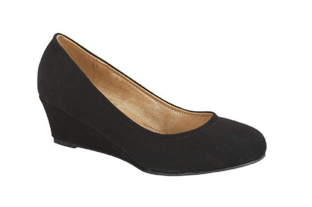 Top Moda Aloe-3 Women's Slip on Round Toe Low Wedge Heels Classic Professional Shoes (7, Black)