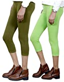 Indistar Big Girl's Cotton Capri Combo-2 Large Green::Green