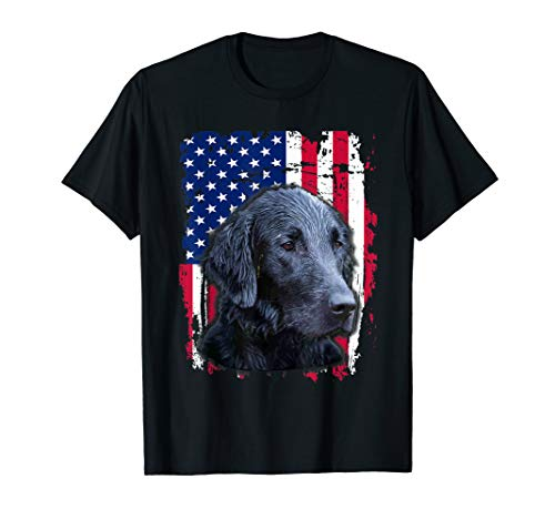 - Flat Coated Retriever US flag Shirt 4th of July
