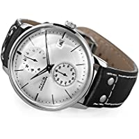 FEICE Men's Automatic Watch Mechanical Watch Stainless Steel Leather Band Watches Analog Curved Mirror Brushed Finish Casual Dress Watches for Men #FM212 (White)
