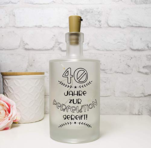 Leuchtflasche, Flaschenlicht, bottle light Geburtstagszahl Jahre zur Perfektion gereift mit Korken Lichterkette Hochzeitstag Jahrestag