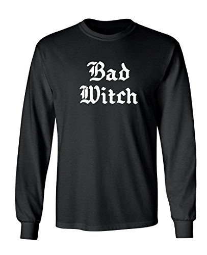 [Halloween Bad Witch Costume Graphic Design Long Sleeved Crew Neck T-Shirt - 5X-Large (Black)] (Cheap Offensive Halloween Costume Ideas)