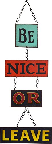 Nicola Spring Hanging Metal 4 Panel Wall Plaque - Be Nice Or (Decor Outdoor Signs)
