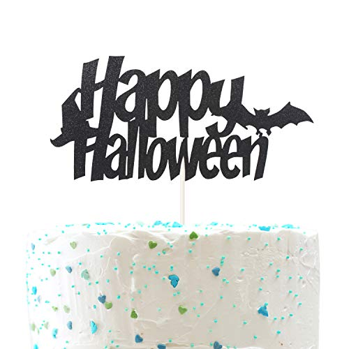 (Happy Halloween Cake topper,Bat and Witches Hat Pumpkin birthday Halloween Party Decorations ( Double Sided Gold Glitter ))